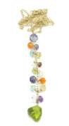 Multicolor Gemstones 41cm Lariat Necklace 14k Yellow Gold Chain with Spring Lock