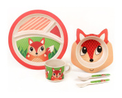 Bamboo Meal Set / Plate set / Dinner set by Green Frog Friends, Eco-friendly Bamboo Dishes, feeding Set for toddlers and Little Kids, Boys and Girls, Fox Character