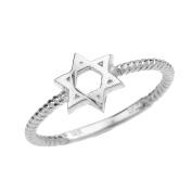 10k White Gold Twisted Rope Band Jewish Star of David Ring