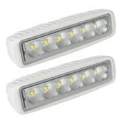 LTC White Spreader LED Deck/Marine Lights (Set of 2) for Boat (Flood Light) 12V 18W