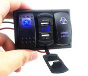 4.2A Dual USB Car Charger DC 12-24V blue led with voltmeter socket led light bar rocker switch panel pre-wired 14 gauge