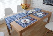 Hmlover Ethnic Style Cotton Linen Table Runner with Tassel White Elephant Navy Background 1Pcs