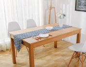 Hmlover Contemporary Retro Style Cotton Linen Table Runner without Tassel Navy Scale 1Pcs