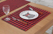 Hmlover Modern Style Cotton Linen Placemat Red and Black Plaid 1Pcs