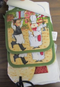 The Pecan Man Woman Chef Everyday Kitchen Set of 7, 1 OVEN MITT & 2 Pot Holders & 2 Dish Cloths & 2 Kitchen Towels
