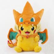 New Pokemon Pikachu With Charizard hat Plush Soft Toy Stuffed Animal Doll 23cm