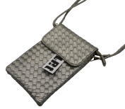 Crossbody 2 Layer Zipper PU Leather Detachable Strap Magnetic Button Purse Pouch Bag, LefRight Silver Grey