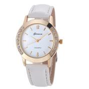 Tenworld Geneva Watch Women Diamond Analogue Leather Quartz Wrist Watches