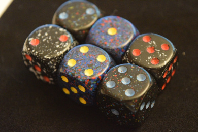 Speckled 16mm D6 Chessex Dice (6 Dice)-Space, Twilight, & Blue Stars + Bag