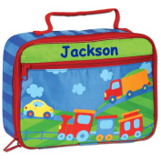 Personalised Stephen Joseph Cars Trucks Trains Transportation Themed Lunch Box With Name