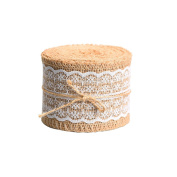 Outus Natural Burlap Craft Ribbon Roll with White Lace, 400cm