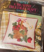 Vintage 1974 Avon Creative Needlecraft Crewel Embroidery Kit - Basket of Strawberries Pillow