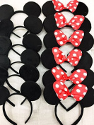12 pc Mickey Mouse Ears Solid Black and Bow Minnie Headband for Boys and Girls Birthday Party
