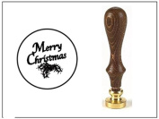 Wax Seal Stamp with Brown Wood Handle and Round Die-Merry Christmas