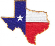 TEXAS STATE SHAPE IRON ON PATCH w/GOLD BORDER - LONE STAR STATE - PATRIOTIC
