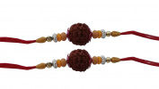 Set of Two Rudraksha Rakhi Thread. Raksha bandhan Gift for your Brother
