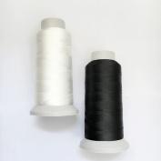 T70 #69 Bonded Nylon Sewing Thread - 1500 Yard Spool -(White+Black)2PCS