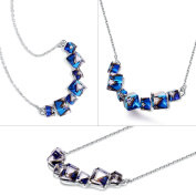 PLATO H Smiling Pendant Necklace with Crystal Fashion Jewellery Christmas Gift, Expansion Chain 46cm