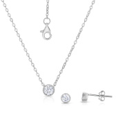 Sterling Silver Set of Round Cubic Zirconia Stud Earrings and Extendable Necklace 41cm , 43cm , 46cm .