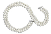 AAA 7.5-8mm White Freshwater Pearl Necklace 2 Strand 15in 16in Choker