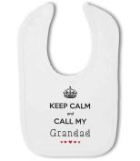Keep Calm and Call My Grandad with cute hearts - Baby Bib
