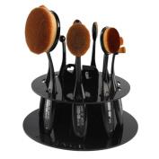 Makeup Brush Holder,Tefamore 10 Hole Oval Drying Rack Cosmetic Shelf Tool Black