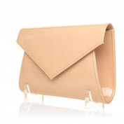DUBLIN Nude Patent PU Leather Fold Over Envelope Style Clutch Bag with Chain Shoulder Strap