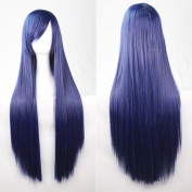 Kissparts 80cm Dark Blue Straight Hair Cosplay Wig With Free Wig Cap and Comb