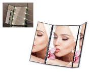 Tri-Fold LED Lighted Makeup Mirror for Cosmetics