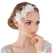 Miya® 1 Mega Glitter Hair Band with Beautiful Soft Tulle Flowers Lace, Lace Flowers with Clear Crystal and Pearl Bridal/Confirmation Hair Jewellery