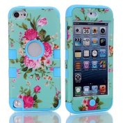Lantier For iPod Touch 5th Case,Plastic 3 Layer TUFF Hard Cover Camo Triple Hybrid Silicone Quakeproof Drop Resistance Protective Shell Case for iPod Touch 5 5th Generation with Screen Protector and Stylus Pen Blue Flowers/Blue