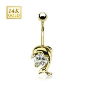 14 K Gold Dolphin Belly Bar