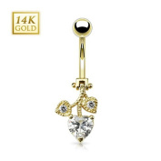 14 K Gold Moving Heart Belly Bar