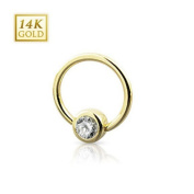 14 K Gold Ball Closure Ring with Crystal - 1.6 x 11 x 4 mm