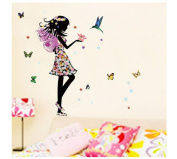 Bluestercool Wall Stickers,Angel Wings Beautiful Girl Flowers Butterfly DIY Wall Stickers Removable Home