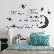 Zooarts We Love You To The Moon And Back Quote Removable Wall Stickers Decals Vinyl Decor Home Room Mural