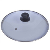 FiNeWaY@ REPLACEMENT VENTED FRYING FRY PAN TEMPERED GLASS SAUCEPAN LID COVER 28cm