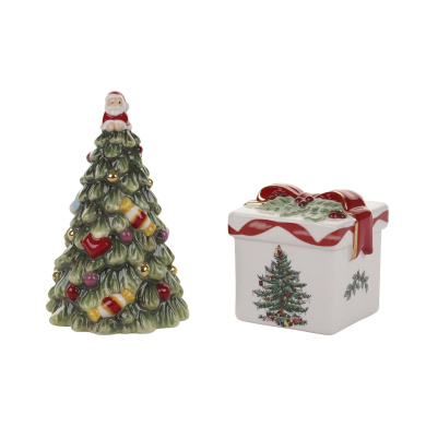 Spode Christmas Tree Tree Salt and Pepper Gift Box Set, Gold by Spode