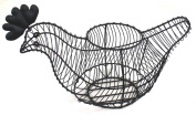 Black Wire Chicken Shaped Egg Basket with Heart Trim