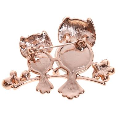 Rhinestone Crystal Gold Tone Cute Owl Brooch Pin Pendant Party Scarf Shawl