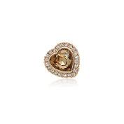 Small Heart Shape Pin Brooch Champagne Rhinestone Collar Pin for Women