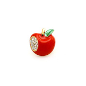 Small Cute Red Apple Pin Embellished with Rhinestone Crystal Brooch Pin For Women or Girls