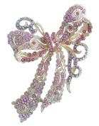 Sindary Charming 10cm Bowknot Brooch Pin Gold-Tone Pink Austrian Crystal UKB5823