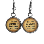 """Wizard of OZ Glinda the Good Witch """"You are Capable of more than you know."""" Surgical Steel Earrings"""
