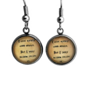 """Alice in Wonderland """"I give myself good advice. But I very seldom follow it."""" Surgical Steel Earrings"""