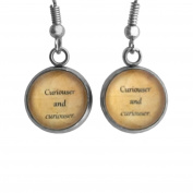 """Alice in Wonderland """"Curiouser and Curiouser"""" Surgical Steel Earrings"""