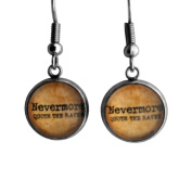 """Edgar Allan Poe """"Nevermore Quoth the Raven"""" Surgical Steel Earrings"""