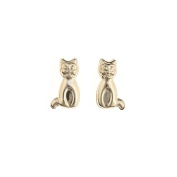 9ct Yellow Gold sitting Cat Andralok stud earring / Gift box