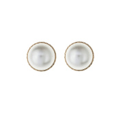 9ct Yellow Gold 10mm Pearl Bouton Andralok stud earring / Gift box