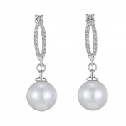 Quality Costume Silver and Crystal Oval Post and Pearl Drop Earring Bridal Wedding